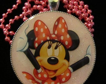 Polka Dot Minnie Necklace-Minnie Jewelry-Handmade Resin Pendant Jewelry