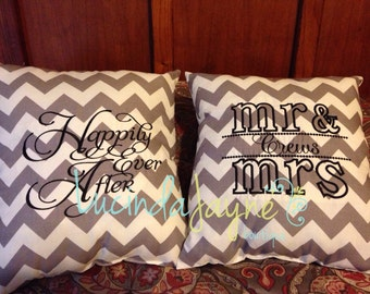 Happily Ever After AND Mr. and Mrs. Pillow - 2 Pillow Set