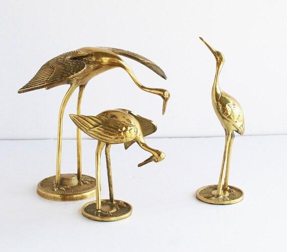 large solid brass crane figurine brightly polished vintage. Black Bedroom Furniture Sets. Home Design Ideas