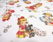 Japanese Fabric Pretty Little Girl Sewing Knitting White  Fat Quarter