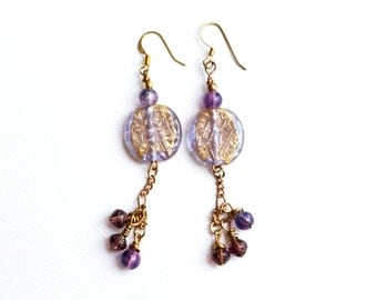 Gold and Purple Dangle Earrings, Purple Drop Earrings, Gold Dangle Earrings, Simple Glass SuDangles, Boho Chic, Unique Gift for Her
