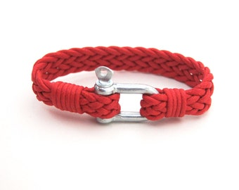 FREE Shipping Men's Red Bracelet Simple Bangle Shackle Nautical Bracelet, Paracord Bracelet, Mens Jewelry, woven cord Bracelet,