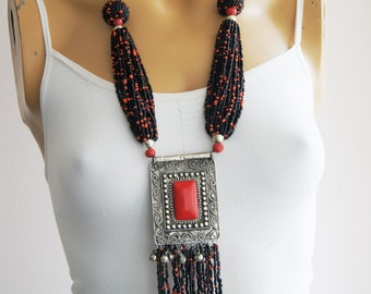 Necklace, Afghan Silver Kuchi Pendant, Mystic Necklace, Vintage Afghani Tribal Antique Ethnic, Afghan Jewelry