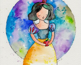 Original Painting 8x10 inches of Snow White, Disney inspired. Watercolor drawing fan art.