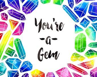 You're a Gem Illustration - Vertical