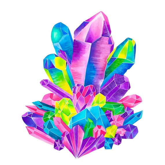 Items similar to Rainbow Crystal Cluster Watercolor ...