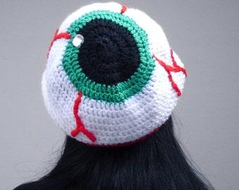 Creepy Eyeball Hat - Crochet Slouchy Beanie - Spooky Beanie - Halloween Costume - Psychobilly Hat - Horror Accessories - Unisex Beanie Hat