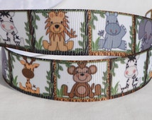 Jungle Nursery Print 7/8 inch Grosgrain Ribbon - Hairbow Ribbon, Paci Clips, Lanyards
