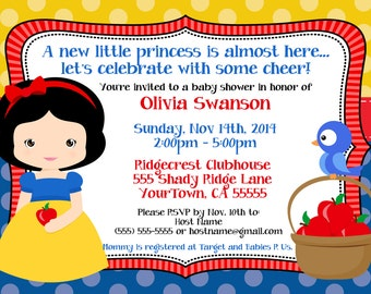 "Snow White Baby Shower Digital Invitation (5x7"")"