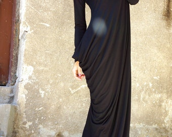NEW Collection SS/15 Black Extravarant Maxi Dress / Viscose  Maxi Tunic / Extra Long Sleeves Asymmetric Black Dress by AAKASHA A03257