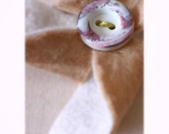 Tan/Cream Felt Pinwheel Hair Clip