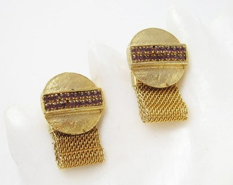 Vintage Rhinestone Cufflinks Mesh Wraparound Cuff Links Mens Jewelry H714