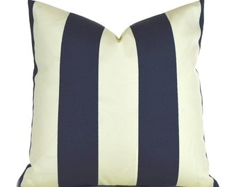 Indoor Outdoor Navy and Ivory Pillow Covers ANY SIZE Decorative Pillows Navy Stripe Pillow Premier Prints Vertical Outdoor Navy and Ivory
