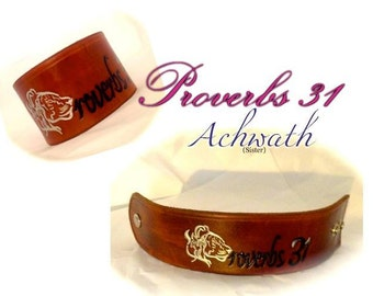 Proverbs 31 Sister Leather Wrist Cuff