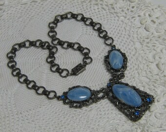 Vintage Chunky Drop Dangle Medallion Necklace Faux Blue Marble Retro Rocker Statement