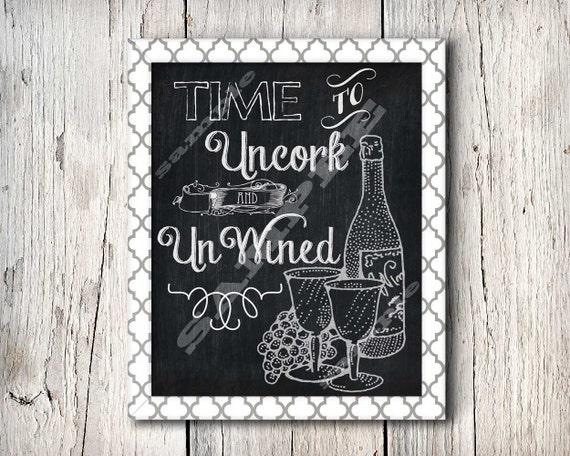 Chalkboard art wine quote art printable sign by for Wine chalkboard art