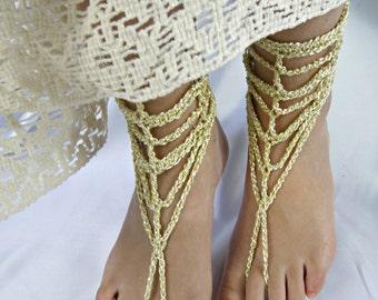 Gold barefoot sandals/gold chain sandals/beach wedding barefoot shoes/crochet gold bottomless shoes/braidsmaid barefoot sandals/foot jewelry