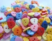 11mm Sweet Heart Buttons, Mixed Color Resin Heart Buttons, 2-Hole Mixed Color Buttons Pack of 25 H11