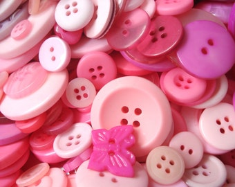 50 Mixed Pink Buttons Pack of Pink Buttons AM2