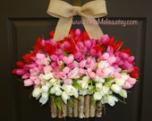 spring wreath summer wreath Valentine's Day front door wreaths decorations red pink tulips spring wreath