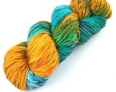 Rockshelter Sock: 149 - Copper Verdigris - 100% Superwash Merino Handpainted Fingering Weight Yarn - orange yellow turquoise teal azure sage
