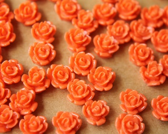 30 pc. Tangerine Glossy Rose Cabochon 9mm | RES-498