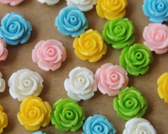 CLOSEOUT - 30 pc. Multi Colored Blooming Rose Cabochons 14mm | RES-515