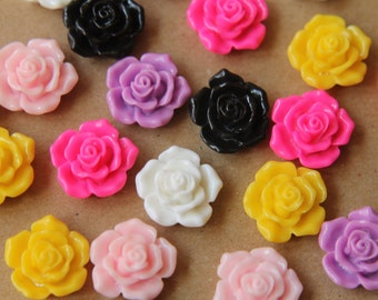 CLOSEOUT - 24 pc. Multi Colored Blooming Rose Cabochons 16mm | RES-518