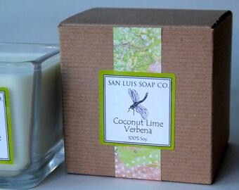 Coconut Lime Verbena Soy Candle-Eco Friendly 14 oz. w/Gift Box