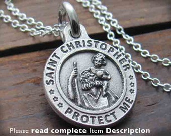 Saint Christopher St Christopher St. Christopher Charm Necklace  Medal Pendant, US NAVY, Air Force, Marines, Army Patron Saint, Travel