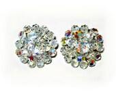 Audrey Hepburn Style:  Vintage Celluloid Imitation AB Aurora Borealis Clear Crystal Clip On Earrings