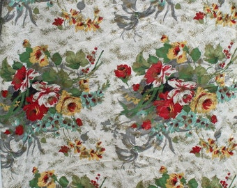 Vintage Barkcloth Fabric, Red Green Blue Gold Rose Flower, Floral Shabby Chic Drapery Curtain Pillow Bark Cloth Fabric, 4 1/2 yards