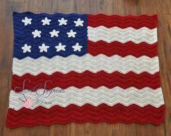 "Handmade Crochet 39""x40"" American Flag Ripple Baby Blanket"