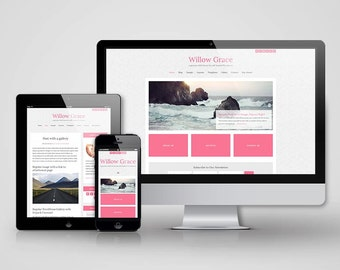 Responsive Genesis Child Theme - Willow Grace - Instant Download - Bright, Feminine, Pre-made Blog Theme - Only for Self-Hosted WordPress