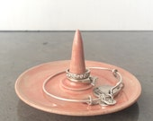 Coral Watercolor Ceramic Ring Holder and Jewelry Dish