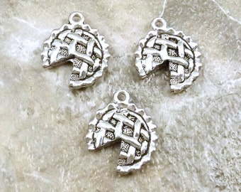 Three (3) Pewter Apple Pie Charms - Free Shipping in the US - (5247)