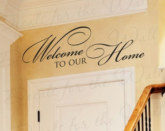 Welcome To Our Home Entryway Entry Home Family Wall Quote Sticker Vinyl Decal Art Lettering Decor Saying A72