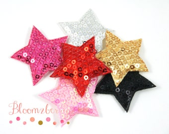 """1.5"""" Sequin Star Appliques/Padded - Sequin Stars - Assorted Color - Stars Padded - Mixed Sequin Stars -Hair Accessories Supplies"""