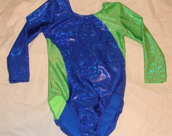 Gymnastics leotard girls size 10-12 in Royal blue and Lime green shattered, glass 3/4 length sleeves