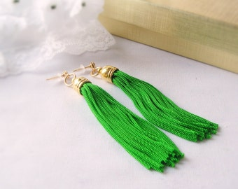 Free Shipping, Tassle Earrings in Kelly Green with Gold Plated Bead Caps and Stud Posts