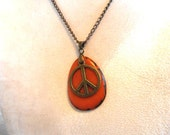 Peace Sign Necklace, Organic Jewelry, Vegan Jewelry, Unisex Jewelry, Bronze Peace Sign Pendant, Eco-Friendly, Anti-War Jewelry