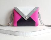 Pink Gray White Black Wool Felt Genuine Leather Messenger Crossbody Bag