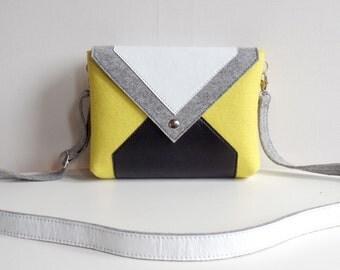Yellow Gray White Black Wool Felt Genuine Leather Messenger Crossbody Bag