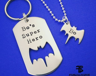 Custom Batman Keychain with Batman Necklace, Batman Dogtag, Father's Day, My Dad is My Superhero, Personalized Batman Necklace, Gift For Dad