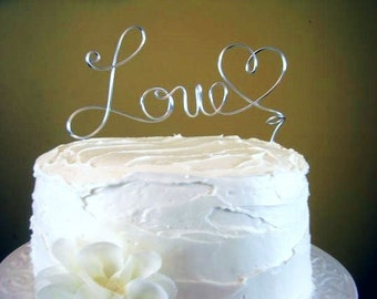 "Wire Wedding Cake Topper ""Love"" Wire Cake Topper - Many colors available"
