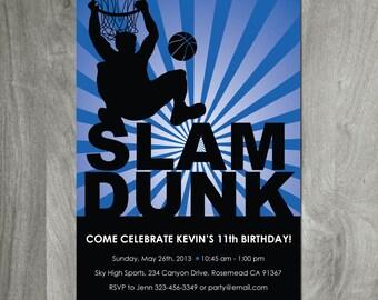Basketball Birthday Invitation, Sports Inivitation, Personalized, Diy Party Printable, Digital File, Game On, Boy Birthday, Blue