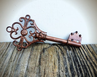 BOLD rustic hammered copper extra large ORNATE skeleton KEY wall decor // hand painted cast iron // art // victorian shabby cottage chic