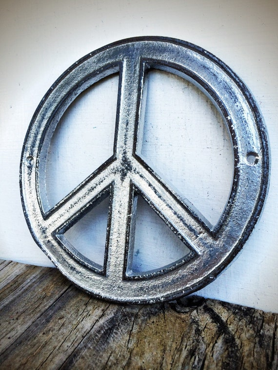 Peace Sign Bedroom Accessories: Chrome Peace Sign Wall Art / Silver Teen Bedroom Decor