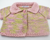 Organic cotton baby sweater 6-12 month size handknit pink and green short sleeves