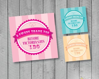 A Sweet Thank you - Custom Circus / Carnival Themed Favor Tags - 3 color at 3x3